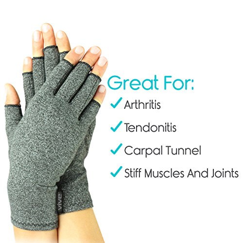 Vive Arthritis Gloves - Compression Glove for Rheumatoid, Osteoarthritis - Heat Hand Gloves for Computer Typing, Arthritic Joint Pain Relief, Carpal Tunnel - Men, Women - Open Finger Thumb (Medium) by VIVE (Image #4)
