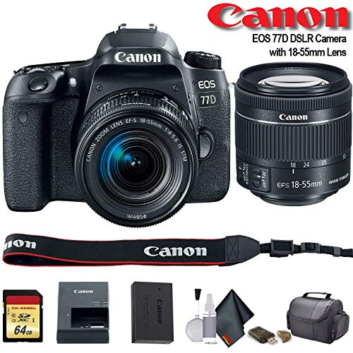 Canon EOS 77D DSLR Camera with 18-55mm Lens (International Model) (1892C016) – Starter Bundle