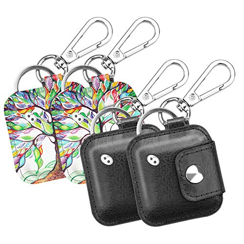 - (4 Pack) Fintie Case with Carabiner Keychain for Tile Mate, Tile Pro, Tile Sport, Tile Style Key Finder Phone Finder, Anti-Scratch Vegan Leather Protective Skin Cover, Black+Love Tree