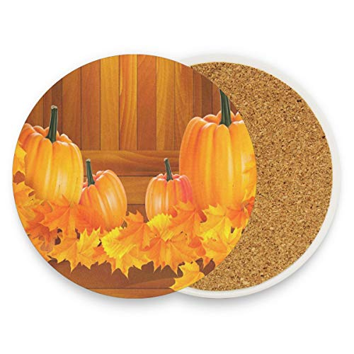 Pumpkins On Wooden With Autumn Leaves Coasters, Protect Your Furniture From Stains,Coffee, Drink Coasters Funny Housewarming Gift,Round Cup Mat Pad For Home, Kitchen Or Bar Set Of 2 -