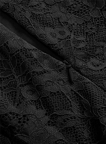 Mujer Y Manga Encaje Negro Cinturón Vestido A Elegante Línea con Cóctel Corto Corta Plisado MuaDress azxO1nvx