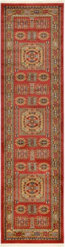 Unique Loom Serapi Collection Traditional Geometric Red Home Décor Runner Rug (3' x 10')