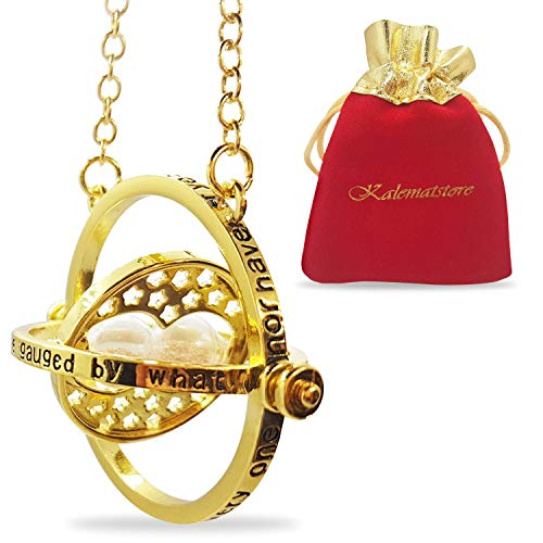 KalematStore 24k Gold Plated Necklace for Time Turner Fans, Gold Glass Hour Sand in a Branded Red Velvet Pouch and Gift Box 1 Fan Spinner Necklace