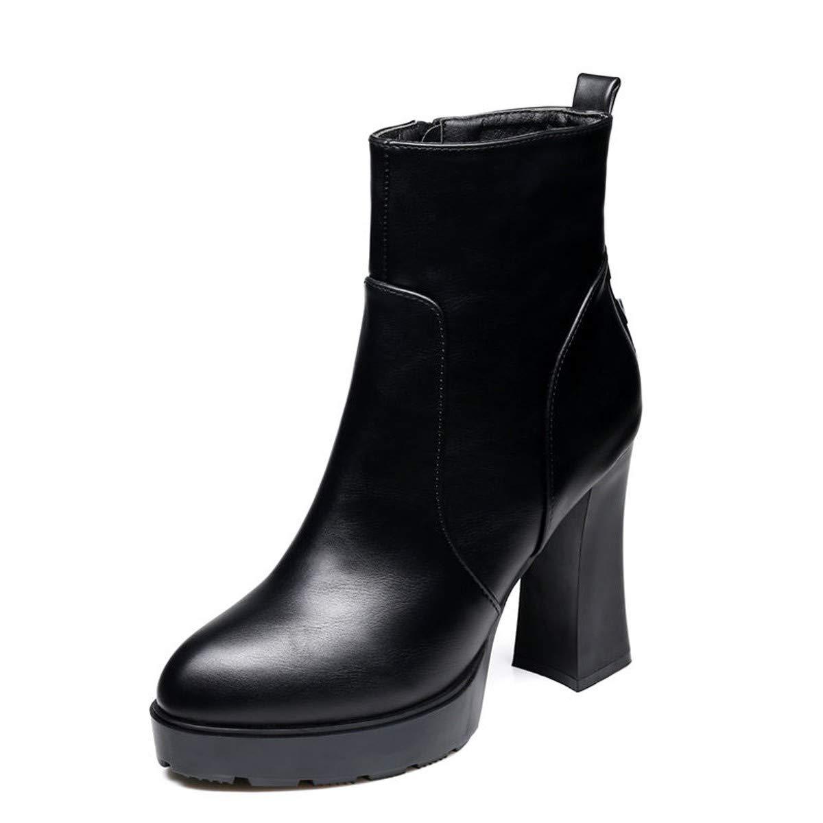 GTVERNH Frauen Schuhe 10Cm Super - High - Heels Dicke Schuhe Wasserdichte Plattform Dicke Sohle Kurze Stiefel Winter Frauen - Stiefel England Velveted Martin Ist Leer - Stiefel