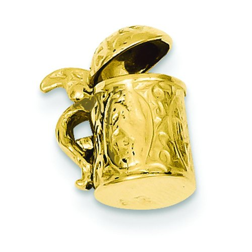 14K Yellow Gold 3D Beer Stein Charm Drinking ()