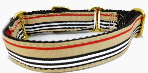 Luxury Fairview Stripe Ribbon Martingale Dog Collars Small 1