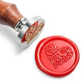 Mceal Wax Seal Stamp, Silver Brass Head with Wooden Handle, Rose in Heart