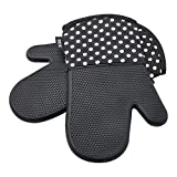 : Deik Oven Mitts, Non-Slip Silicone Oven Mitts, Heat Resistant to 572 °F Kitchen Oven Gloves for Cooking, Baking, Barbebue Potholder, 1 Pair, Black