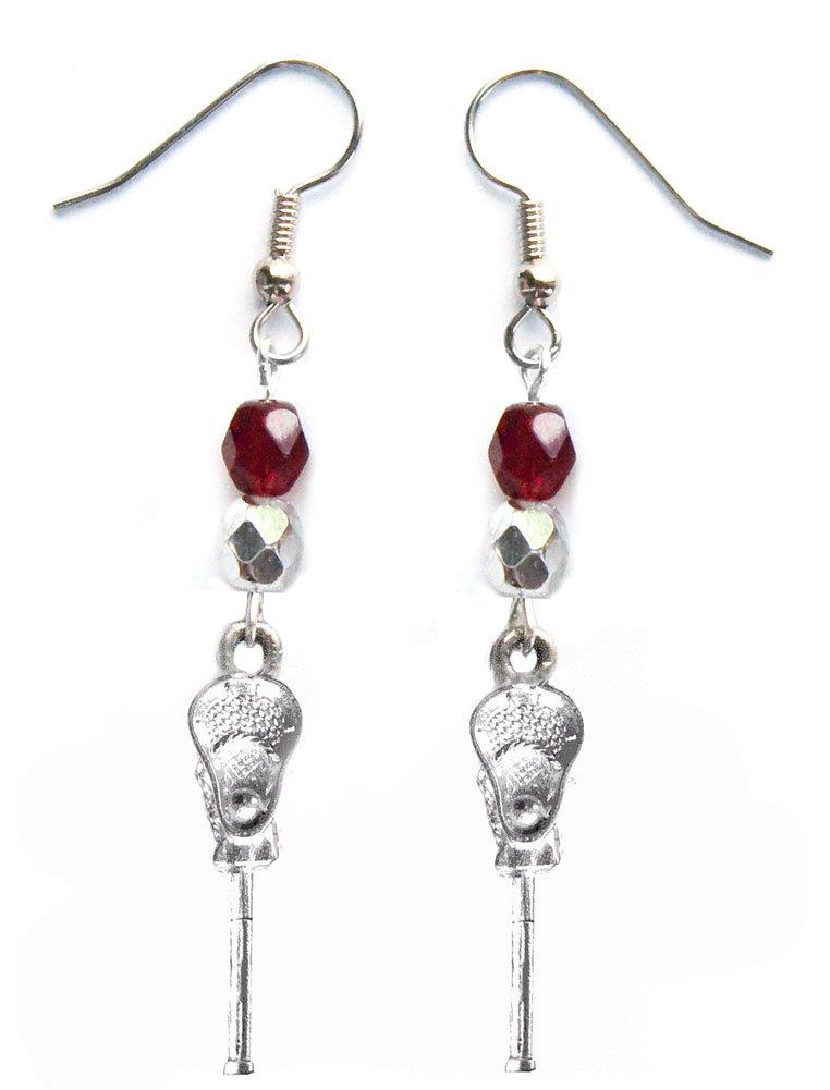 ''Lacrosse Stick & Ball'' Lacrosse Earrings (Team Colors Maroon & Silver)