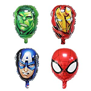 4PCS Avengers Superhero Balloon Birthday Party Supplies 18″ Foil Balloons for Kids Baby Shower Birthday Party Decorations