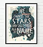 He counts the stars and calls them all by Name - Psalm 147:4 Christian UNFRAMED reproduction Art Print, Vintage Bible verse scripture wall & home decor, inspirational watercolor gift, 8x10 inches