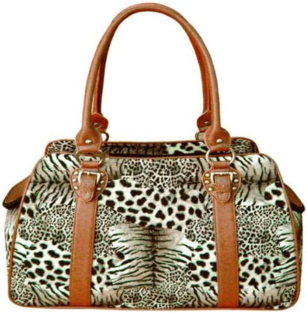 Backbone Faux Leather Pet Carrier, Leopard