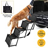 NAFURNO Foldable Car Dog Step Stairs - Metal Frame Folding Pet Ramp Used as Ladder for Tall Couch, Bed, Chair or Car, Protect Pets' Joint and Knee