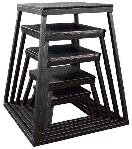 Ader Plyometric Platform Box 5 Pcs Set- 6'', 12'', 18'', 24'', 30'' Black by Champion Sports