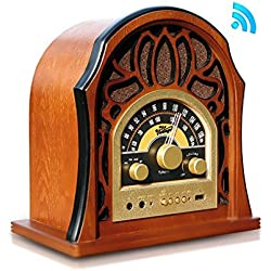 Pyle Retro AM/FM Bluetooth Radio 3.5MM Input Jack with Full-Range Speaker, Walnut Full-Range Stereo Speakers | Vintage Style Classic Design (PUNP37BT)