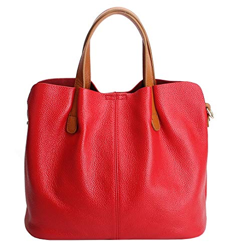 (Molodo Womens Satchel Hobo Top Handle Tote Geuine Leather Handbag Shoulder Purse (Red))