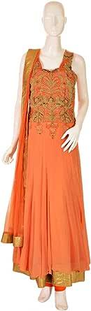 Sanskriti Orange Festive Anarkali Set For Women