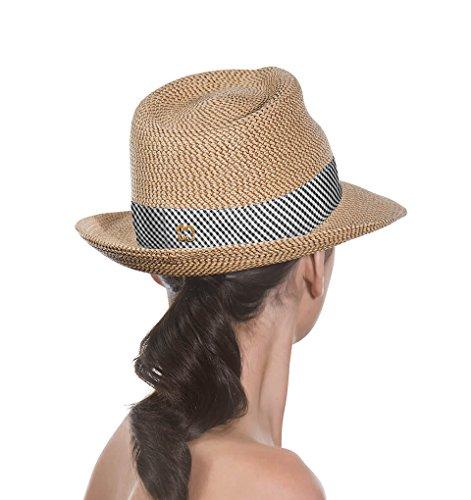 Eric Javits Luxury Fashion Designer Women's Headwear Hat - Squishee Classic - Peanut/Black Check