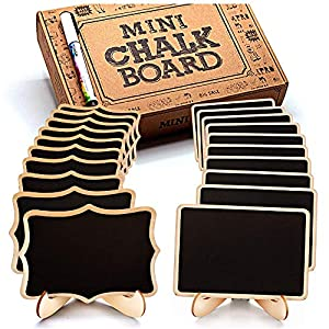 Mini Chalkboard Signs, 20 Pack Framed Small Chalkboard Labels with Easel Stand, Wooden Blackboard for Table Numbers…