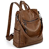 UTO Women Backpack Purse PU Washed Leather Ladies Tassels Convertible Rucksack Shoulder Bag Brown