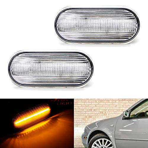 iJDMTOY Clear Lens Amber Full LED Front Side Marker Light Kit For Volkswagen MK4 Jetta GTI R32 Beetle etc, Powered by 15-SMD LED, Replace OEM Sidemarker Lamps ()