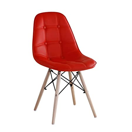 Red Oak - Myers (Red) - Set of 2 - Stylish Dining Cafeteria Accent Chair | Leatherette seat | Wooden Legs