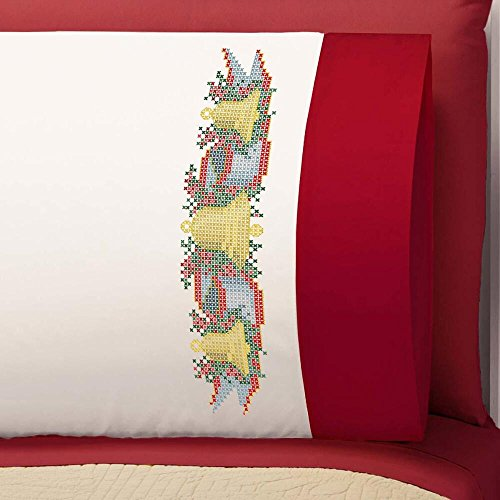 Herrschners® Bells & Ribbon Pillowcase Pair With Cuffs Stam