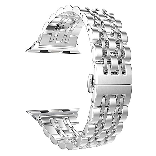Price comparison product image Apple Watch Band, Aokay Stainless Steel Metal Replacement Band with Butterfly Clasp for Series 3 Series 2 Series 1 Sport and Edition 38mm, Silver