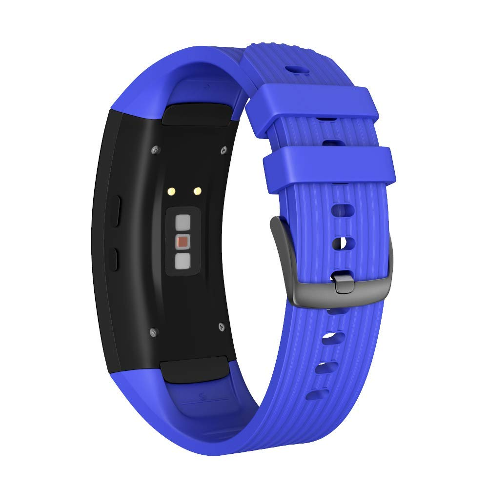 NotoCity Compatible Samsung Gear Fit2 Pro Band Solft Silicone Gear Fit2 Watch Strap for Samsung Gear Fit2 Pro Smartwatch Bands(Dark Blue, Small)