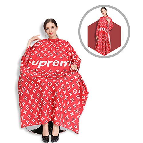 RACAPE Professional Imported Barber Cape, Silky Hair Cutting Salon Cape with Snap Closure Light Weight Hairdressing Apron Perfect for Barbershop and Home use 57x63 Inches,RedB