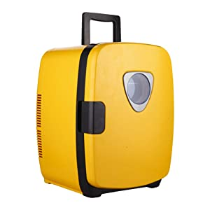 HM&DX Portable Mini Fridge Cooler and Warmer,Car Home Compact Thermoelectric Energy efficient Beverage Refrigerator Freezer-Yellow 20L