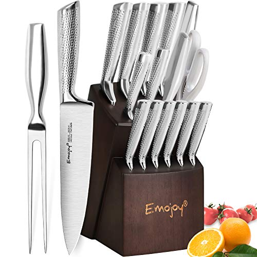 Knife Set, Emojoy 16-PCS Kitchen Knife Set with Carving Fork, Ripple Stainless Steel Hollow Handle for Chef Knife Set with Wooden Block, Perfect Cutlery Set Gift ()