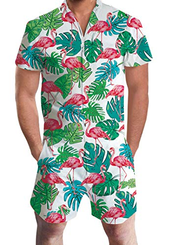 Men's Rompers Male Zipper Jumpsuit Shorts White Tropical Hawaiian Aloha Weed Leaves Flamingo Printed One Piece Slim Fit Outfits Bro Short Sleeve - Hipster One Piece