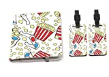 Rikki Knight 3D Popcorn and Glasses Design Passport Holder with slots for Travel documents with 2 matching (1-sided) Luggage Identifier Tags