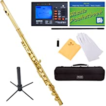 Mendini Closed-Hole Key of C Flute, Lacquered and Tuner, Case, Stand, Pocketbook - MFE-L+SD+PB+92D
