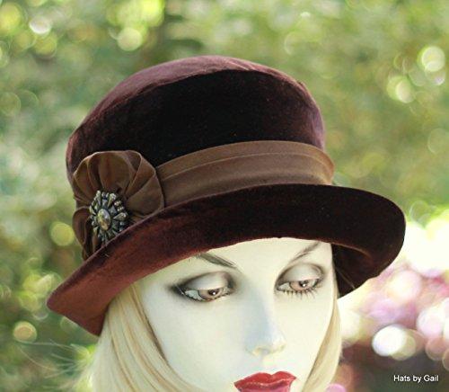 Hat Bowler Velvet (20s Vintage Style Velvet Bowler Downton Abbey Style Hat)