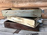 TRAY WOOD MEDIUM WITH RUSTIC HANDLES *Antique White Red Blue Box for CENTERPIECE, Candles, Mason Ball Jars, Mail, Remote -Kitchen Living Room Decor -Distressed - (fits 3 pint size jars) 13.75' x 5'