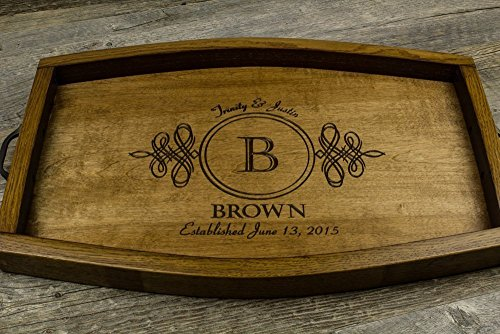 Personalized Wine Barrel Serving Tray (Barrel Stave Furniture)