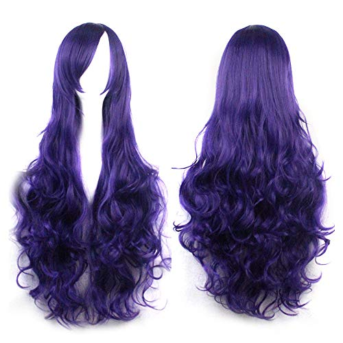 Vine_MINMI Wig Cosplay Long Wavy Wigs Halloween Party Anime Hair for Women Side Part Heat Resistant Natural Looking Wig ()