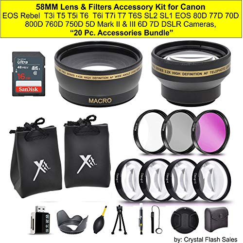 "58MM Lens & Filters Accessory Kit for Canon EOS Rebel T3i T5 T5i T6 T6i T7i T7 T6S SL2 SL1 EOS 80D 77D 70D 800D 760D 750D 5D Mark II & III 6D 7D DSLR Cameras, ""20 Accessories Bundle"""