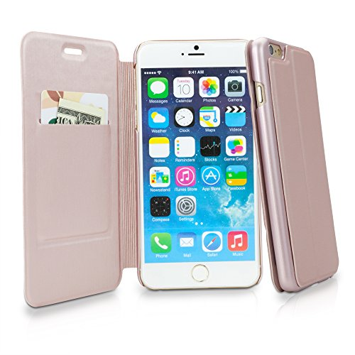iPhone 6Plus Coque, BoxWave® [ultrapuff Étui à rabat] Portefeuille en cuir synthétique pour W/fente pour carte de crédit pour Apple iPhone 6Plus, 6S Plus–Or rose