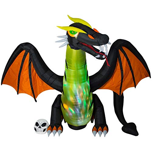 Gemmy Details About 12' Inflatable Dragon with Color Changing and Moving Head Indoor/Outdoor Holiday Decoration -