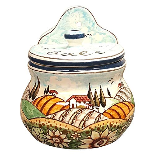 (CERAMICHE D'ARTE PARRINI- Italian Ceramic Art Pottery Jar Salt Box Wall Decorated Sunflower Landscape Tuscan Hand Painted Made in ITALY)