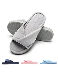 FLY HAWK Women's Open Toe Slide House Slippers Cozy Velvet Memory Foam Indoor Shoes