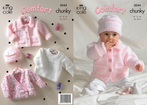 King Cole Comfort Chunky Knitting Pattern Childrens Jacket Sweater Cardigan amp Hat 3044