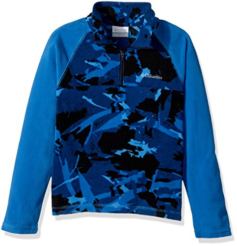 Childrens Camo Fleece Sweatshirt (Columbia Big Boys' Glacial II Printed Fleece Half Zip Jacket, Super Blue Woodsy Camo, X-Large)