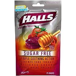 HALLS Sugar-Free Cough Drops, (Honey-Berry, 25 Drops, 12-Pack)