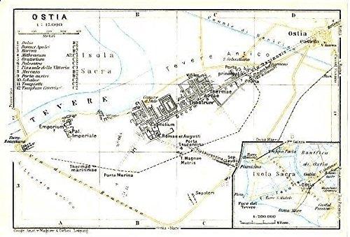 Amazon Com Ostia Rome Italy 1928 Color Lithograph City Plan Map