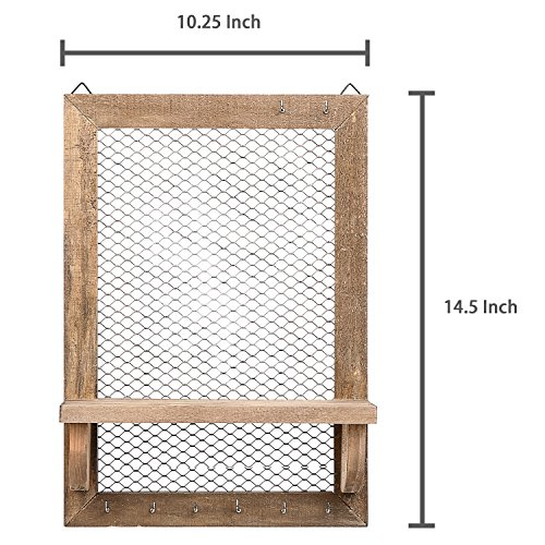 8 Hook Wood and Metal Chicken Wire Wall Mounted Jewelry Display Organizer Rack with Shelf by MyGift (Image #5)