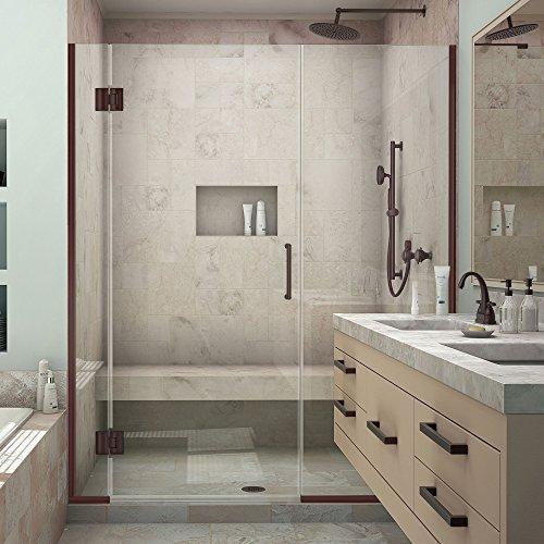 """DreamLine Unidoor-X 65 1/2-66 in. Width, Frameless Hinged Shower Door, 3/8"""" Glass, Oil Rubbed Bronze Finish"""